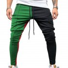 Men Jogger Stadium Gymnasium Colorful Striped Casual Matching Color Pants  Green black_M