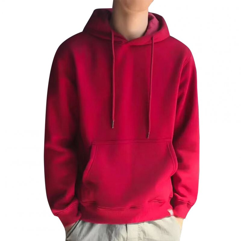 Men Kangaroo Pocket Plain-Colour Sweaters Hoodies for Winter Sports Casual  red_L