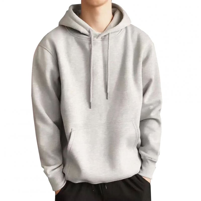 Men Kangaroo Pocket Plain-Colour Sweaters Hoodies for Winter Sports Casual  light gray_XXL