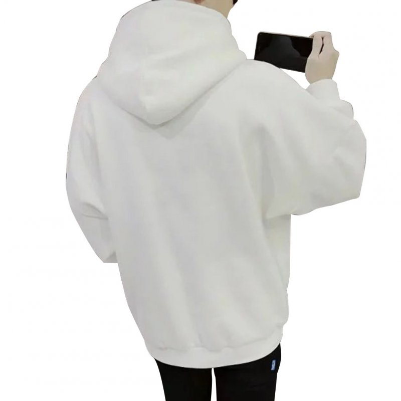 Men Kangaroo Pocket Plain-Colour Sweaters Hoodies for Winter Sports Casual  white_XXXL
