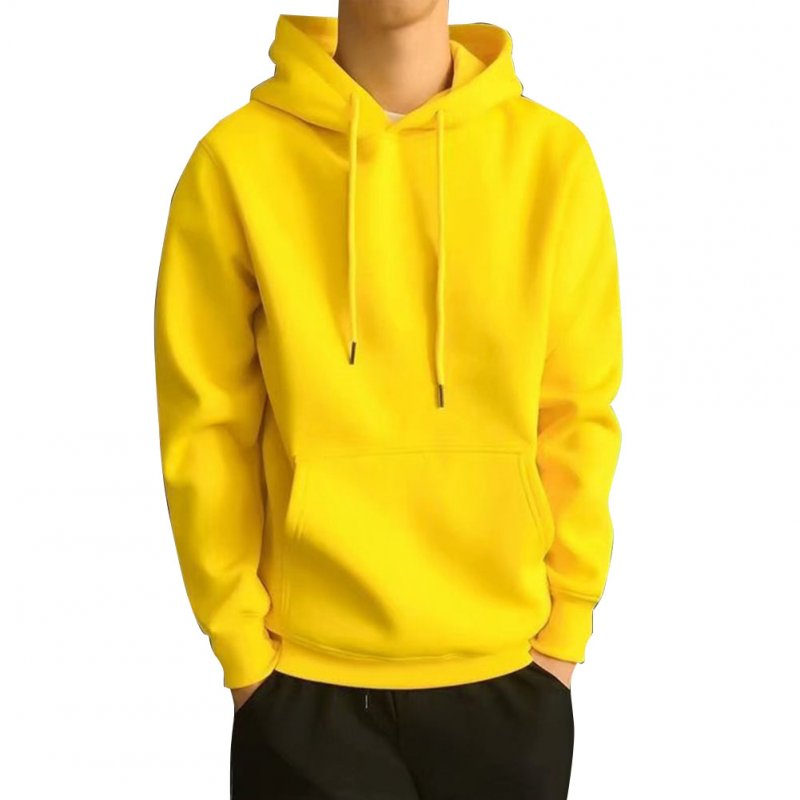 Men Kangaroo Pocket Plain-Colour Sweaters Hoodies for Winter Sports Casual  yellow_M