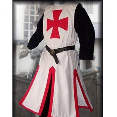 Men Knight Templar Costume for Halloween Party Stage Performance red_XXXL