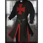 Men Knight Templar Costume for Halloween Party Stage Performance black XXL