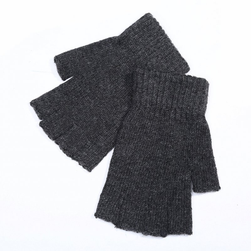 Men Knitted  Fingerless Half Finger Mittens
