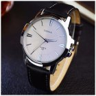 Men Large Dial Business Fashion Belt Quartz Watch Black Dial Watch