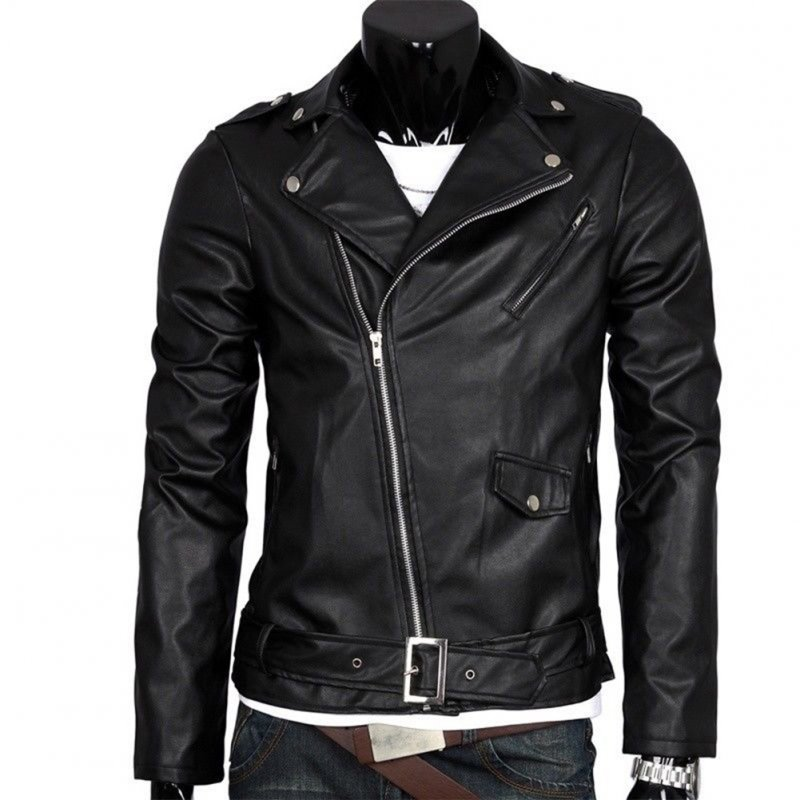 Men Leather Jacket Slim Fit Motorcycle Jacket Zipper Casual Coat Spring Autumn Winter black_XXL