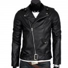 Men Leather Jacket Slim Fit Motorcycle Jacket Zipper Casual Coat Spring Autumn Winter black_L