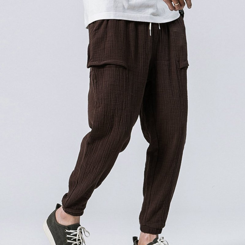 Men Leisure Pants Double Wrinkle Pants Large Size Slim Casual Trousers brown_XXL