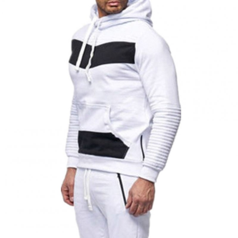 Men Leisure Stitch-color Sweater Long Sleeve Casual Hooded Hoodie Outdoor Sports Jacket  white_M