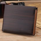 Men Leisure Wallet Business Retro PU Leather Multifunction Purse Short Purse Pockets   KL017 Dots dark brown
