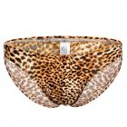Men Leopard Print Sexy Briefs with Convex Pouch T-back yellow_XL