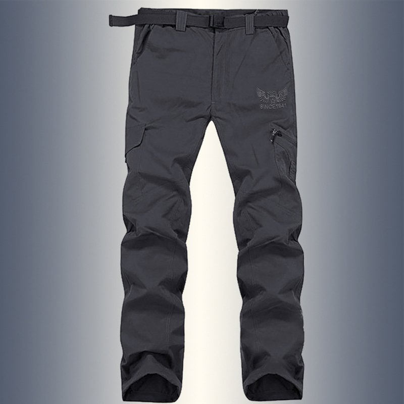 Men Lightweight Thin Loose Quick Dry Waterproof Trousers Pants for Outdoor Sports Mountaineering gray_XXL