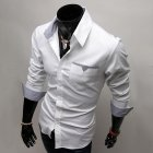 Men Long Sleeve Fashion Slim Casual Thin Plaid Shirt white_3XL