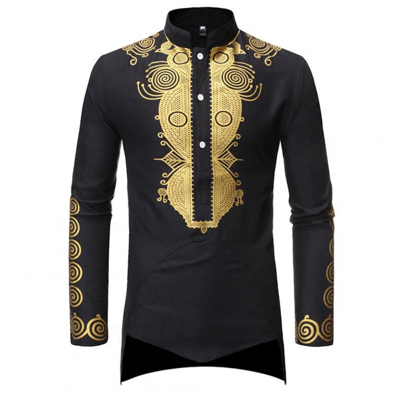Men Long Sleeve Shirts Gilding Pattern Stand Collar Slim Shirts  black_XL