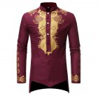 Men Long Sleeve Shirts Gilding Pattern Stand Collar Slim Shirts  Red wine_3XL