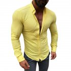 Men Long Sleeve Slim Fit Fashion Leasure Tops Button Lapel Casual Shirt yellow_M