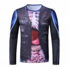 Men Long Sleeve T Shirt 3D Digital Viscera Printing Round Collar Halloween Tops Black_L