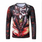 Men Long Sleeve T Shirt 3D Digital Printing Round Collar Halloween Horror Theme Tops Red_L