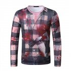 Men Long Sleeve T Shirt 3D Digital Printing Horror Theme Round Neck T-shirt for Halloween plaid_S