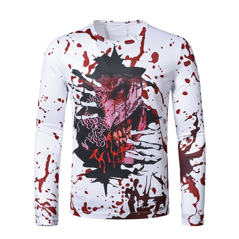 Men Long Sleeve T Shirt Halloween 3D Digital Printing Horror Theme Round Neck T-shirt White_XL
