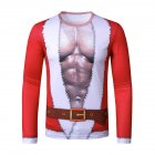 Men Long Sleeve T Shirt Round Collar 3D Printing Santa Claus Costumes  red_XL