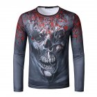 Men Long Sleeve T-shirt 3d Digital Printing Halloween Series Horror Theme Long Sleeved Round Neck Shirt Grey _XL