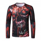 Men Long Sleeve T-shirt Long Sleeved Round Neck Shirt 3d Digital Printing Halloween Series Horror Theme Shirt Red_2XL