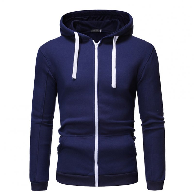 Men Long Sleeve Zipper Hoodie Fashion Solid Color with Drawstring Sports Casual Sweatshirt  Navy blue_S