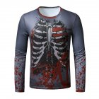 Men Long Sleeved Round Neck Shirt 3d Digital Printing Halloween Series Horror Theme Long Sleeve T-shirt  Grey_2XL