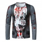 Men Long Sleeved Round Neck Shirt 3d Digital Printing Halloween Series Horror Theme Long Sleeve T-shirt  Gray_XL