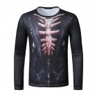 Men Long Sleeved Round Neck Shirt 3d Digital Printing Halloween Series Horror Theme Long Sleeve T-shirt  Black_2XL