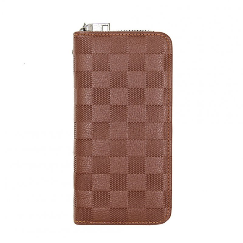 Men Long Zip Wallet Plaid Clutch Multifunctional Large Capacity Wallet Light brown