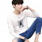 Men Long-sleeved Round Collar T-shirt Slim Shirt Old duck headless person [long sleeve] white_(170cm/62.5kg) XL