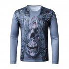 Men Long-sleeved Shirt 3D Digital Printing Halloween Series Horror Theme Long Sleeved Round Neck Shirt Blue_2XL