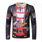 Men Long sleeved Shirt 3D Digital Printing Halloween Series Horror Theme Long Sleeved Round Neck Shirt Black M