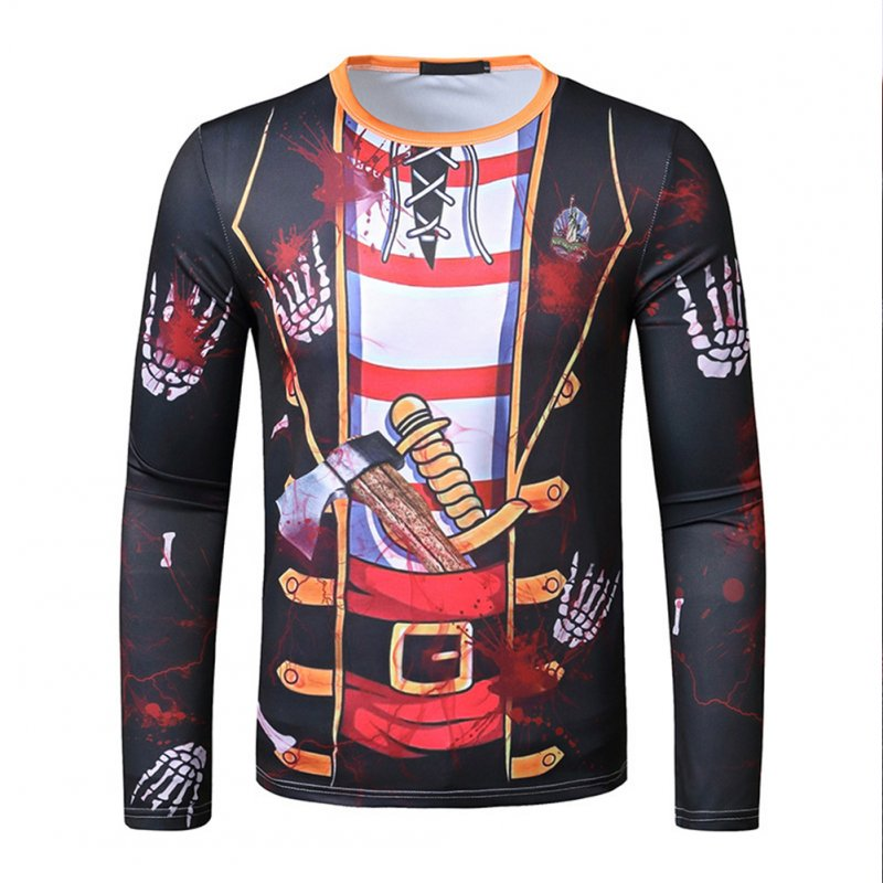 Men Long-sleeved Shirt 3D Digital Printing Halloween Series Horror Theme Long Sleeved Round Neck Shirt Black_M