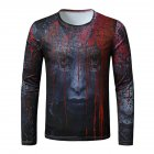 Men Long-sleeved Shirt Round Neck 3D Digital Printing Halloween Series Horror Theme Long Sleeved Shirt Black_S