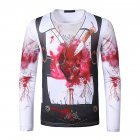 Men Long-sleeved Shirt Round Neck 3D Digital Printing Halloween Series Horror Theme Long Sleeved Shirt White_L