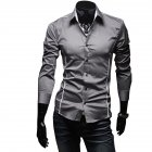 Men Luxury Casual Business Long Sleeve Slim Shirt gray_XL
