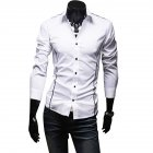 Men Luxury Casual Business Long Sleeve Slim Shirt white_XL