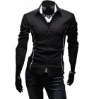 Men Luxury Casual Business Long Sleeve Slim Shirt black_2XL
