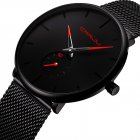 Men Minimalist Ultra-Thin Waterproof Stainless Steel Smart Watch Wrist Watch  red
