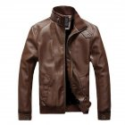 Men Motorcycle Faux Leather Coat Stand Collar Ribbed Hem Slim PU Jacket Overcoat brown M