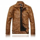 Men Motorcycle Leather Jacket Zipper Cool Fashionable Slim Fit PU Coat Top Khaki_XL