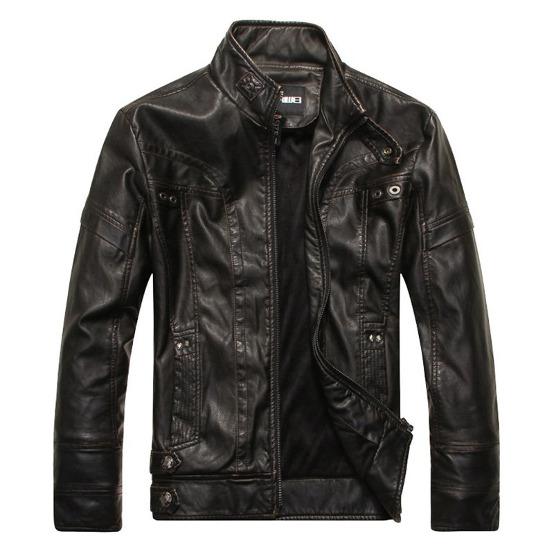 Men Motorcycle Leather Jacket Zipper Cool Fashionable Slim Fit PU Coat Top black_XL