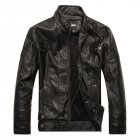 Men Motorcycle Leather Jacket Zipper Cool Fashionable Slim Fit PU Coat Top black_M