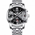 Men Multifunction Quartz Movement Steel Watch with 6 Pointers Black bottom silver edge