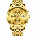 Men Multifunction Quartz Movement Steel Watch with 6 Pointers  gold