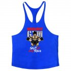 Men Muscle Bodybuilding Shirt Breathable Fitness Sport Vest blue_XL