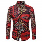 Men National Style Fashion Digital Printing Casual Long Sleeve T-shirt red_2XL
